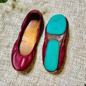 Tieks Maroon Red Teal Bottom Ballet Flat Shoe 8